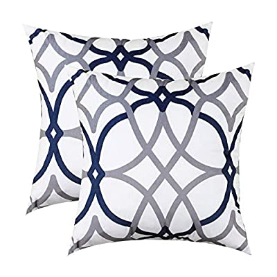 H.VERSAILTEX Original Velvet Cushion Covers 18x18 Throw Pillow Covers for Living Room (Set of 2) Luxury Solid Modern Decorative Pillows for Chair/Sofa/Couch Bed, Dark Denim and Grey Geo Pattern