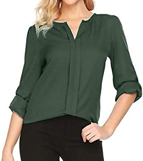 MK988 Women's Stylish Chiffon Long Sleeve V Neck Solid Color Plus Size Chiffon Blouse Shirt Top