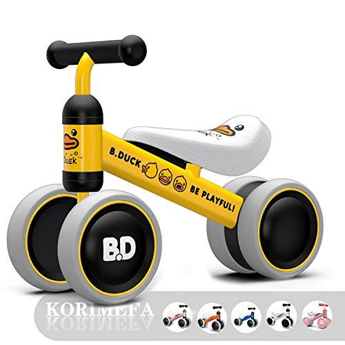 KORIMEFA Bicicletta Senza Pedali Bicicletta Equilibrio per Bambini 1-2 Anni (10-24 Mesi) Triciclo Baby Balance Bike Walker Prima Bici Senza Pedali (Anatra Gialla)