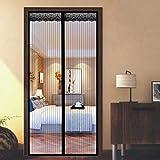 Mosquitera Puerta Plisada 130x225cm Instalación fácil Sin Huecos Dejar Pasar el Aire Fresco Apagar Automáticamente para Puertas Cortina - Negro