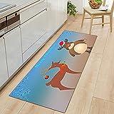 OPLJ Alfombra para puerta de cocina, pasillo, decoración de dormitorio, sala de estar, niños, antideslizante, tamaño A14, 40 x 120 cm