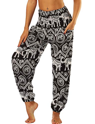 TIANNBU Damen Yogahose Hippie Haremshose Dünn Boho Yoga Pants Strand Sommerhose,008