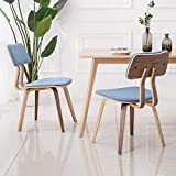 YEEFY Dining Chair Bent Wood Modern Dining Room Chairs Upholstered Living Room Chairs, Set of 2(Blue