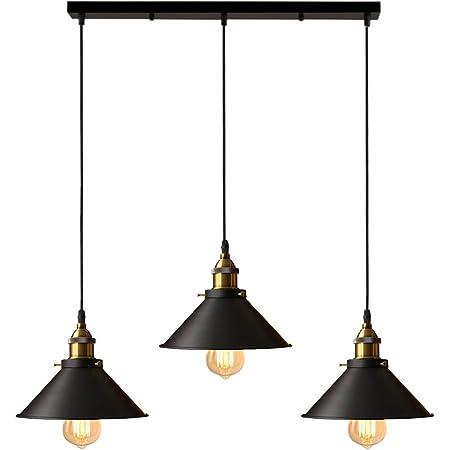 iDEGU 3 Lampes Suspension Luminaire Industrielle Lustre Plafonniers Design Edison Métal Lustre Suspension avec 50cm Support en Barre, Ø 22cm, Noir