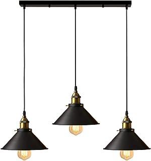 iDEGU 3 Lampes Suspension Luminaire Industrielle Lustre Plafonniers Design Edison Métal Lustre Suspension avec 50cm Suppor...