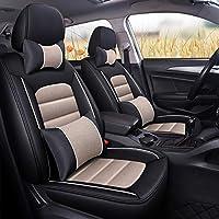 カーシートクッションリネン、通気性防塵滑り止めカーインテリアシートクッション、エアバッグ、春、夏、冬のシートカバーに対応,ベージュ,Luxury