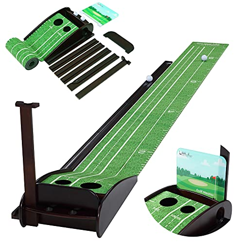 Lakehood Wood Golf Putting Green Mat Practice Putting Green with Ball Return Outdoor Indoor Golf Putting Green Perfect Backyard Games