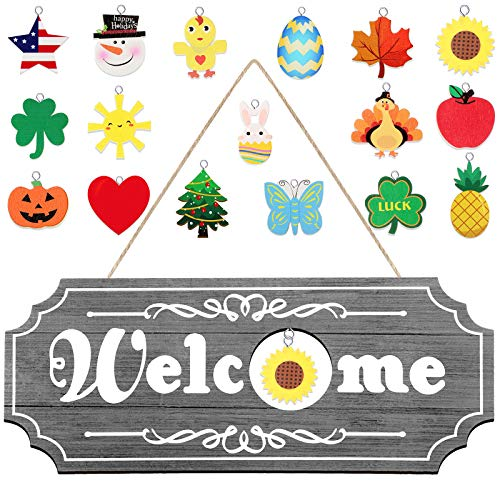 Jetec Interchangeable Seasonal Welcome Sign Multiple Holiday Welcome Wooden Sign Rustic Wooden Welcome Sign Decoration for Fall Christmas Easter Valentines Thanksgiving St Patrick's Day (Gray)