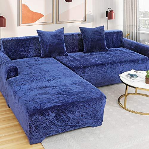 Love House Velvet Plüsch Schonbezug Sofa, Stretch Sofa Überwurf Sofabezug Weich Dick Sofahusse Für L-Form Schnittcouch,1 2 3 4 Sitzer -blau Sofa