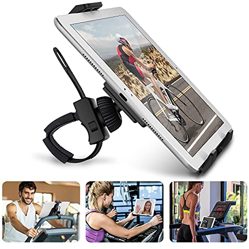 """AboveTEK Universal Handlebar Mount for iPad – iPhone - Tablet – Anti Shock 360 Degree 3.5"""" to 12"""" Expandable Pole Strap Phone Holder Cradle for Indoor Cycling, Gym, Tread Mill, Spin Bike, Elliptical"""