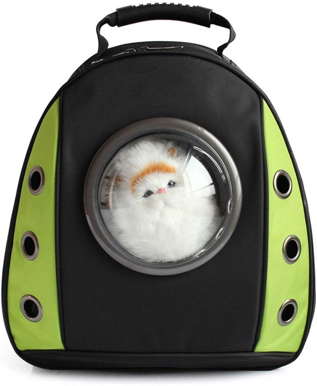 Pet Travel Bag Radiation Predection pet Space cat Bag Chest Bag Transparent Backpack Dog Creative Shoulder pet Backpack (color   Green)