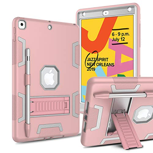DONWELL Case for iPad 10.2 2019, iPad 7th Generation Case with Pencil Holder Kickstand, Heavy Duty Three Layer Armor Shockproof Hard Protective Case for iPad 7th Generation 10.2'' 2019 (Gray/Pink)