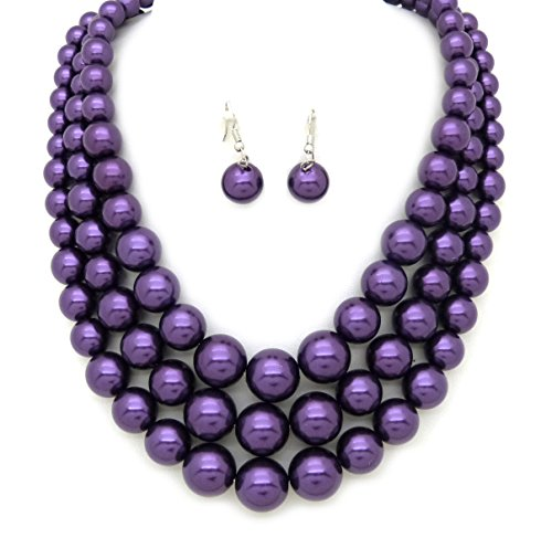 Fashion 21 Women's Three Multi-Strand Simulated Pearl Statement Necklace and Earrings Set (Purple)