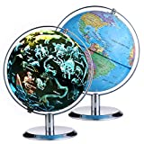 Globe for Kids Learning 8 Inchs 360°Rotation Illuminated Led Light Desktop Geographic Constellation Interactive Educational Discovery World Map Globe with Stand for Home School Child Adults Gifts