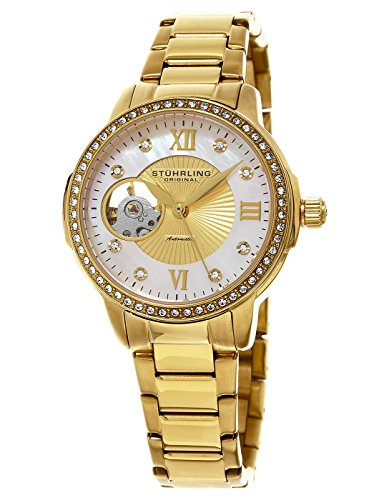 Stuhrling Original Perle Women's Automatic Watch with Mother of Pearl Dial Analogue Display and Gold Stainless Steel Bracelet 491. 04