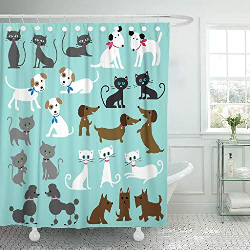 Emvency Fabric Shower Curtain with Hooks Brown Cute Cats and Dogs Black Clipart Scottie Grey Poodle Animal Collar 72