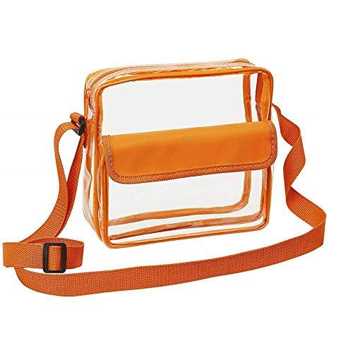 Clear Crossbody Messenger Shoulder Bag with Adjustable Strap NFL Stadium Approved Transparent Purse (Orange)