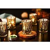 Supreme Lights Glas Teelichthalter 12er Set, 5.2x6.2cm, Gefleckter Teelichtgläser Geschenk Kerzenhalter Deko für Geburtstag, Party, Hochzeit, Feier, Haushalt, Gastronomie(Gold) - 8