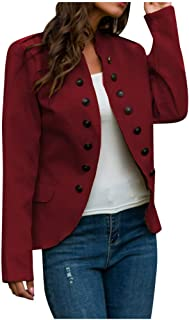 Women Plus Size Buttons Cardigan Coat, Ladies Open Front Military Office Jacket Outwear