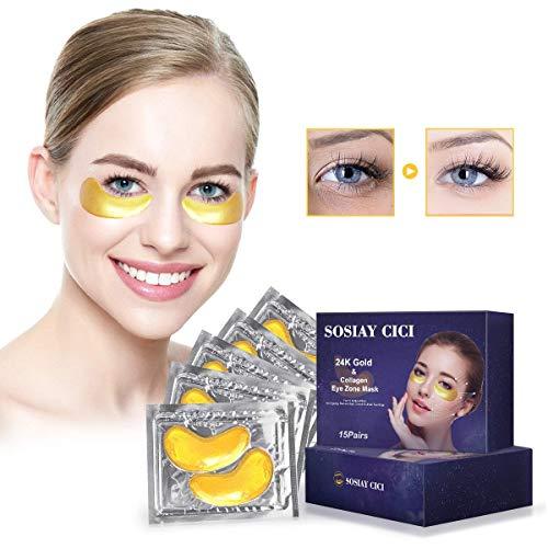 Máscaras de Tratamiento de Ojos de Oro de 24 Quilates para Hinchazón, Ojeras y Arrugas, Parche de Colágeno Debajo del Ojo, con Proteína de Soja, Vitamina B3 y ácido Hialurónico, 15 Pares