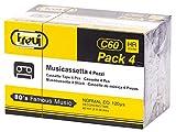 Trevi C60 HR Audiocassette vergini da 60 minuti (30 min per lato) - Confezione da 4 musicassette 0C60P4