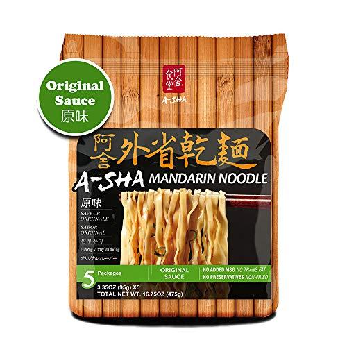 A-SHA Healthy Ramen Noodles, Medium Mandarin Style with Original Sauce, Vegetarian Noodles, Wavy, Medium-Width Noodles, 1 Bag, 5 Servings