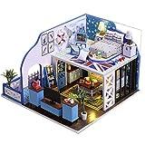 NSWMHDQ Miniatura casa de muñecas con Muebles, Bricolaje de Madera casa de muñecas Prueba Kit Plus Polvo y Movimiento Música, Idea de Habitaciones Poético Vida (Size : Without Dust Cover)