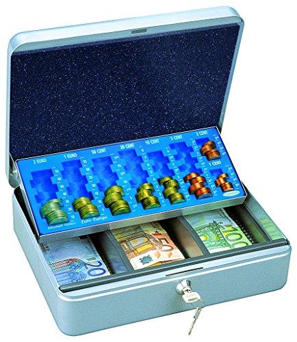 HomeDesign valigetta porta contanti HomeDesignKey HDK-3000-Argento, in acciaio, compartimentata, con vassoio portamonete scorrevole, serratura a cilindro, maniglia per facile trasporto, grigio chiaro.