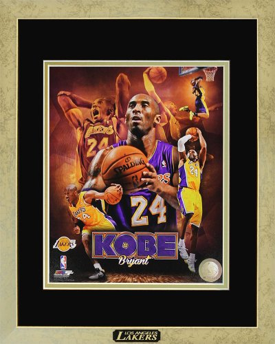 "Kobe Bryant Los Angeles Lakers Official NBA Memorabilia Framed Photo with Plate Custom Made Real Wood Modern Gold Frame (12 1/2 x 15 1/2"")"