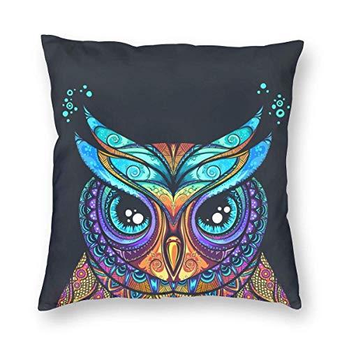 Klotr - Funda de almohada decorativa con diseño de búho con adorno tribal, 18 x 18 pulgadas