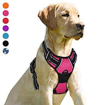 BARKBAY No Pull Dog Harness Front Clip Heavy Duty Reflective Easy Control Handle for Large Dog Walking Pink,L