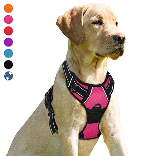 BARKBAY No Pull Dog Harness Front Clip Heavy Duty Reflective Easy Control Handle for Large Dog Walking(Pink,S)