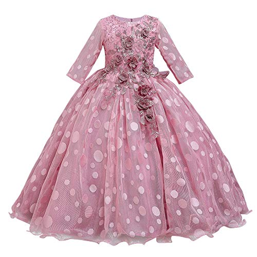 Girls Mesh 3/4 Sleeve Party Dress Polka Dot 3D Flower Sequin Embellished Princess Pageant Prom Wedding Birthday Ball Gowns Pink 7-8 Years
