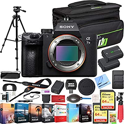 Sony a7 III Full Frame Mirrorless Interchangeable Lens 4K HDR Camera ILCE-7M3 Body Bundle with Deco Gear Travel Bag, 2X 64GB Memory Cards, Editing Suite and Accessories (18 Items) by Sony