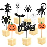 Halloween Kuchenaufsätze, 100 Stück Halloween Cupcake Topper Halloween Kuchendeko Frucht Picks Kuchen Dekoration Halloween Papier Cupcake Topper für Tortenstecker Kinder Party Themen Party