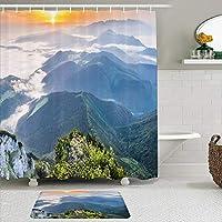 WOTAKA シャワーカーテン バスマット 2点セット 夜明けの風景日の出朝の霧山の色自然指標 自家 寮用 ホテル 間仕切り 浴室 バスルーム 風呂カーテン 足ふきマット 遮光 防水 おしゃれ 12個リング付き