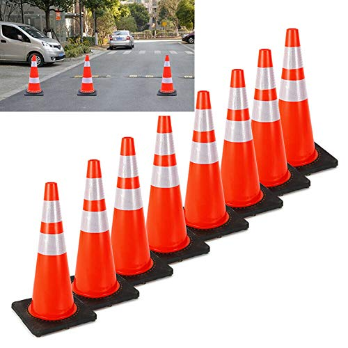 CNCEST Collapsible Traffic Cone Construction Cones 28'' Reflective Collar Safety Cone Safety Road Parking Orange Cones 8Pack for Traffic