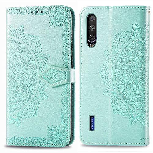 Bear Village Hülle für Xiaomi MI CC9e / MI A3, PU Lederhülle Handyhülle für Xiaomi MI CC9e / MI A3, Brieftasche Kratzfestes Magnet Handytasche mit Kartenfach, Grün