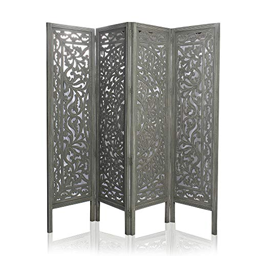 Best Review Of India Overseas Trading Corporation 6 Ft. Large Room Divider 4 Panels Decorative Woode...