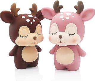 H&W 2PCS Cute Deer Coin Bank for Kids, 1 Pink & 1 Brown, Money Box, Piggy Bank, Candy Box, Best  Children, Boys, Girls (WK...