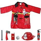 TE-Trend Feuerwehr Kinder Kostüm Feuerwehrmann Verkleidung Set 8-teilig Kleinkind Jacke Helm...
