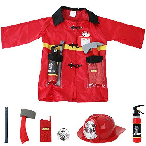 TE-Trend Feuerwehr Kinder Kostüm Feuerwehrmann Verkleidung Set 8-teilig Kleinkind Jacke Helm Fasching Karneval Party