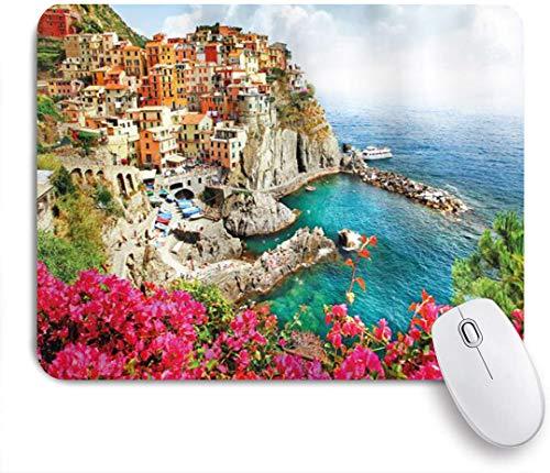 Benutzerdefiniertes Büro Mauspad,Italien Antikes Dorf in Cinque Terre Küstenpanorama Sommerstrand,Anti-slip Rubber Base Gaming Mouse Pad Mat