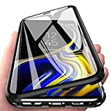 Kompatibel für Huawei P30 Lite (6,15 Zoll)Hülle,Stark Magnetische Adsorption Metallrahmen Flip Handyhülle 360 Grad Komplett Schutzhülle Vorne und Hinten Gehärtetes Glas Transparente Cover,Schwarz