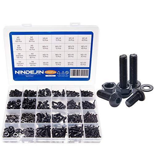 Schrauben BUTTON 1060PCS NINDEJIN Kohlenstoffstahl Schrauben Muttern und Unterlegscheiben Sortiment Kit mit Aufbewahrung Box (1060)