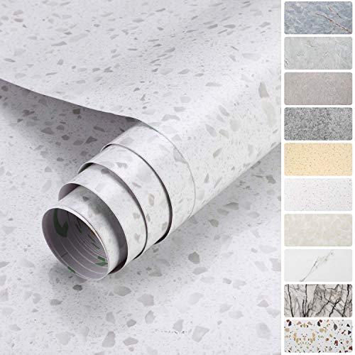KINLO Marmol Papel Adhesivo para Muebles Vinilo Decoracion PVC Material 60X500 cm Papel Pintado Cocina Autoadhesivo Adhesivos Pegatinas Decorativas de Renovación de Muebles