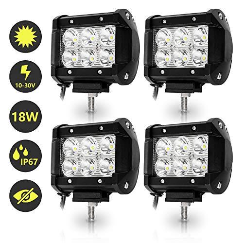 Hengda LED Arbeitsscheinwerfer, 4x 18W Scheinwerfer 12V 24V Rückfahrscheinwerfer Traktor LED Strahler für Offroad, KFZ, SUV, LKW, Auto Zusatzscheinwerfer IP67 Wasserdicht, Quad