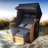 BRAST Strandkorb Deluxe 2-Sitzer XXL für 2 Personen 120cm breit mehrere Designs incl. Abdeckhaube Farbe Nadelstreifen Anthrazit/Weiß Ostsee