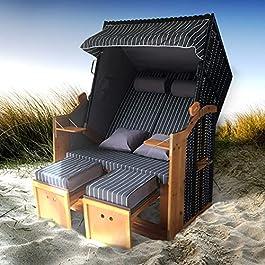 BRAST Corbeille de plage mer Baltique DELUXE 165x120x90cm 2 places, osier en poly rotin/bois imperméable + housse, trés…