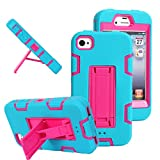 MagicSky Robot Series Hybrid Armored Case with Kickstand for Apple iPhone 4/4S - 1 Pack - Retail Packaging - Hot Pink/Blue
